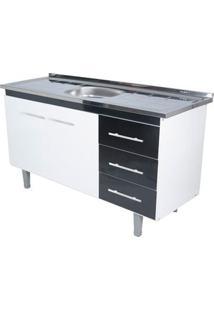 Gabinete De Cozinha Lyon 53X143,4Cm Branco E Preto Bonatto
