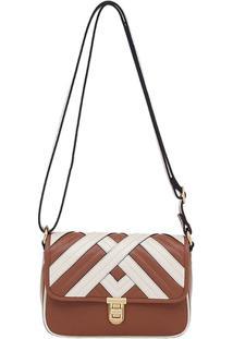 Bolsa Smartbag Couro Recortes - Feminino-Caramelo