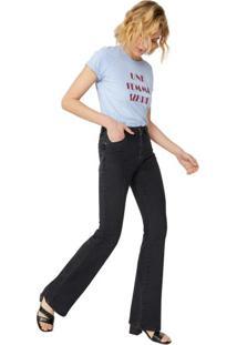 Calça Jeans Flare Com Nervura Interrompida