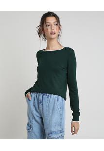 Suéter Feminino Básico Em Tricô Decote Redondo Verde Escuro