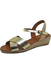 Sandália Anabela S2 Shoes Xis Dourada