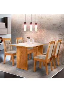 Conjunto De Mesa De Jantar Dakota Com 4 Cadeiras Rubi Ll Suede Off White E Bege