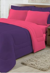 Edredom Solteiro Casa Modelo Dupla Face Malha 100% Algodão 1 Peça - Roxo/Pink