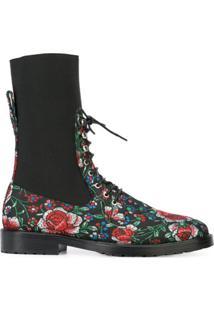 Leandra Medine Bota De Couro Com Detalhe Floral - Preto