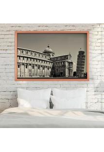Quadro Love Decor Com Moldura Torre De Pisa Rose Metalizado Grande