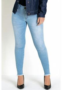 Calça Jeans Claro Eventual Skinny Barra Desfiada