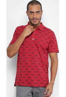 Camisa Polo Cavalera Piquet Estampada Masculina - Masculino-Vermelho