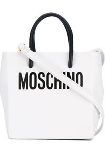 Moschino Bolsa Transversal Midi De Couro - Branco