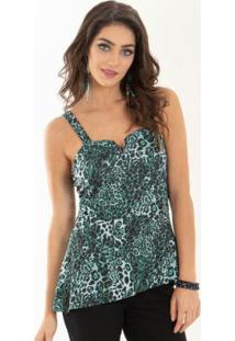 Blusa Com Barra Assimétrica Animal Print