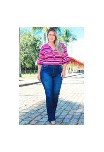 Calça Flare Almaria Plus Size Fact Jeans Azul