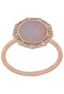 Astley Clarke Anel 'Lace Agate Luna' Banhado A Ouro Rosê 18K - Metálico