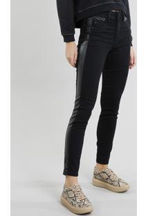 Calça Jeans Feminina Sawary Cigarrete Com Recorte Preta