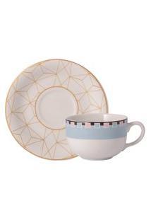 Xicara Café Com Pires 100 Ml Porcelana Schmidt - Dec. Pantanal