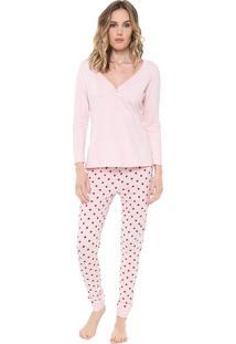 Pijama Malwee Liberta Poá Rosa