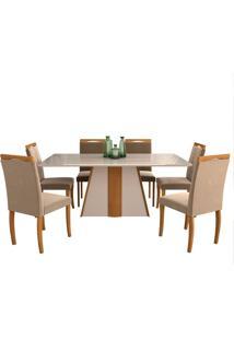 Conjunto De Mesa Para Sala De Jantar Daiana Com 6 Cadeiras Laura-Cimol - Madeira / Offwhite / Joli