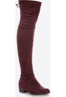 Bota Feminina Over The Knee Salto Baixo Zatz