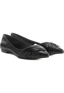 Sapatilha Couro Shoestock Bico Fino Drapeado Feminina - Feminino-Preto