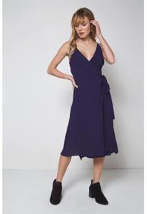 Vestido Oh,Boy! Recote Liso Feminino - Feminino-Azul Escuro