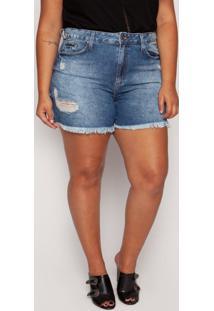 Short Almaria Plus Size Blubetty Jeans Azul - Azul/Jeans - Feminino - Algodã£O - Dafiti