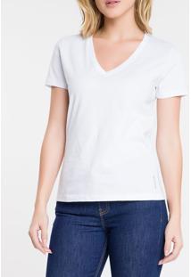Blusa Feminina Essentials Gola V Branca Calvin Klein Jeans - Pp