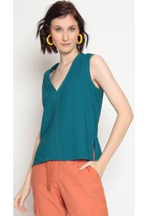 Blusa Com Recortes- Verde Escurola Chocolãª