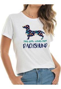 Camisetas Loves Dachshund Spring Feminina - Feminino-Branco