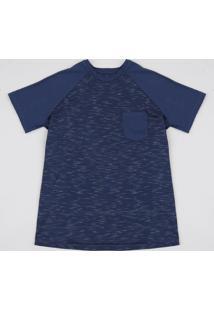 Camiseta Infantil Flamê Raglan Com Bolso Manga Curta Azul Marinho