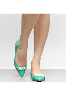 Sapatilha Couro Shoestock Corrente Resina Feminina - Feminino-Verde