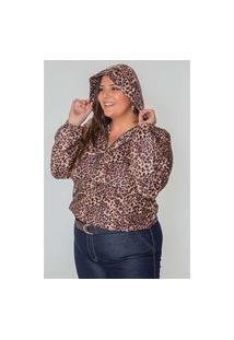 Jaqueta Quebra Vento Onça Plus Size Marrom Jaqueta Quebra Vento Onça Plus Size Marrom Gg Kaue Plus Size
