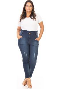 Calça Feminina Jeans Clochard Plus Size - Kanui