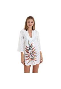 Vestido Gola V Laise Folhas De Outono - Branco - Líquido
