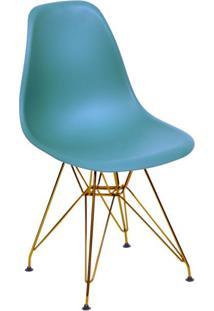 Cadeira Eames Eiffel Com Base Metal Azul Petróleo