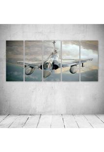 Quadro Decorativo - Aircraft Army Attack Dassault Figh - Composto De 5 Quadros - Multicolorido - Dafiti