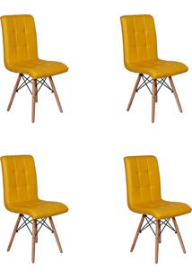 Cadeira E Banco De Jantar Impã©Rio Brazil Eiffel Gomos Estofada - Amarelo/Incolor - Dafiti
