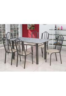 Conjunto De Mesa Luana Com 6 Cadeiras Craqueado Preto Rattan