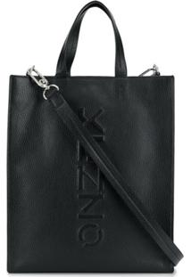 Kenzo Bolsa Tote Com Logo Gravado - Preto