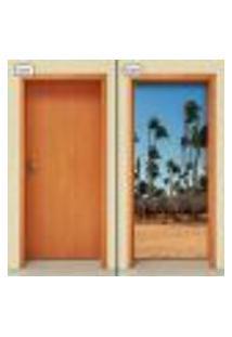 Adesivo Decorativo De Porta - Coqueiros - Praia - 1972Cnpt