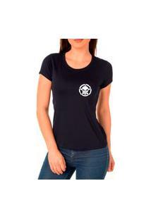 Camiseta Feminina Algodão Básica Confortável Dia A Dia Preto