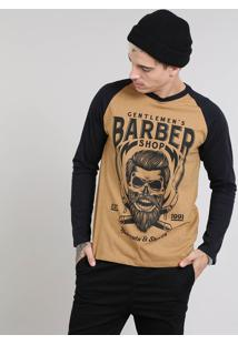 "Camiseta Masculina Raglan ""Barber Shop"" Gola Careca Manga Longa Caramelo"