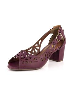 Sapato Peep Toe Recortes Laser New Pele Vermelho Escuro - Kanui