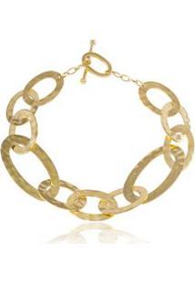 Bracelete Slogan Gold Oa Com Diamante Chocolate - U
