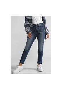 Calça Cropped Jeans Gap Reta Estonada Azul