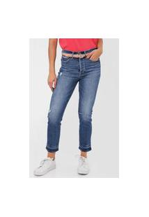 Calça Cropped Jeans Gap Skinny Estonada Azul