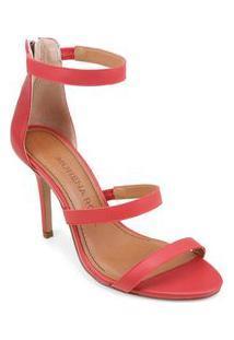Sandalia Salto Alto Ziper Traseiro Vermelho