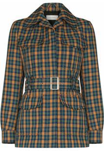 Wales Bonner Savanna Check-Print Military Jacket - Azul