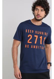 "Camiseta Masculina Esportiva Ace ""Keep Running 2711 Be Ambitious"" Manga Curta Gola Careca Azul Marinho"