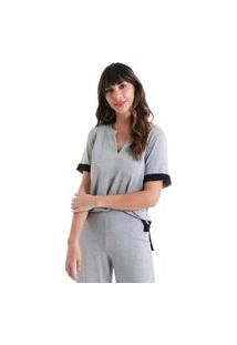 Blusa Decote V Warm - Cinza - Líquido