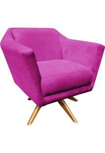 Poltrona Decorativa Lorena Suede Pink Com Base Giratória De Madeira - D'Rossi