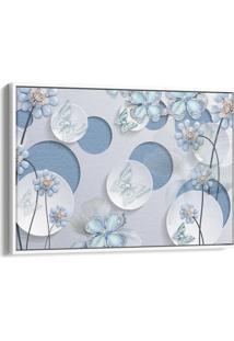 Quadro 60X90Cm Flores Azul Fada E Borboletas Azuis E Brancas Canvas Moldura Flutuante Branca