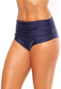 Calcinha Blue Horse Paola Hot Pants Retro Franzido Lycra Blue Night Azul Marinho
